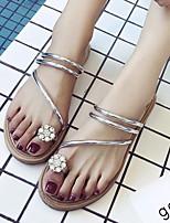 cheap -Women's Sandals Flat Sandal Summer Flat Heel Open Toe Daily PU White / Black / Gold