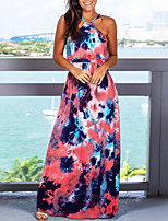 cheap -Women's Maxi Fuchsia Dress Spring & Summer Holiday Vacation Beach A Line Color Block Tie Dye Halter Neck S M