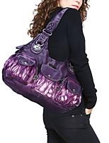 cheap -Women's Zipper PU Top Handle Bag Color Block Purple / Black