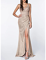 cheap -Mermaid / Trumpet Sparkle Gold Wedding Guest Prom Dress V Neck Sleeveless Sweep / Brush Train Polyester with Sequin Split 2020