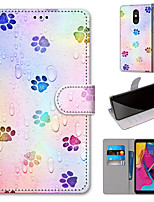 cheap -Case For Motorola Moto G8 Play / Moto G8 Plus / MOTO E6 plus Wallet / Card Holder / with Stand Full Body Cases Footprints PU Leather / TPU for MOTO E6 Play / MOTO G7 / MOTO G7 Plus