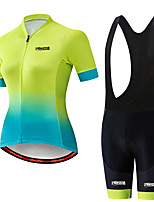 cheap -21Grams Women's Short Sleeve Cycling Jersey with Bib Shorts Black / Green Polka Dot Bike Clothing Suit Breathable 3D Pad Quick Dry Ultraviolet Resistant Sweat-wicking Sports Polka Dot Mountain Bike