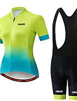 Недорогие -21Grams Жен. С короткими рукавами Велокофты и велошорты-комбинезоны Черный / зеленый Горошек Велоспорт Наборы одежды Дышащий 3D / Слабоэластичная / Быстровысыхающий / Горные велосипеды / 3D-панель
