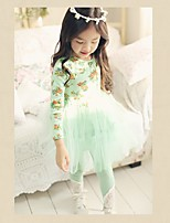 Недорогие -Дети Девочки Милая Симпатичные Стиль Цветочный принт Длинный рукав До колена Платье Розовый