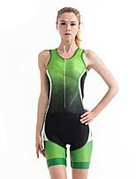 Недорогие -21Grams Жен. Без рукавов Костюм для триатлона Черный / зеленый Градиент Велоспорт Наборы одежды Дышащий 3D-панель Быстровысыхающий Ультрафиолетовая устойчивость Впитывает пот и влагу Виды спорта