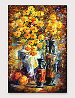 cheap -IARTS®Hand Painted Chrysanthemums vie for beauty  Oil Painting   with Stretched Frame For Home Decoration