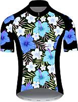 Недорогие -21Grams Муж. С короткими рукавами Велокофты Черный / синий Цветочные ботанический Велоспорт Джерси Верхняя часть Горные велосипеды Шоссейные велосипеды Устойчивость к УФ Дышащий Быстровысыхающий