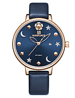 cheap -NAVIFORCE Ladies Quartz Watches Classic Fashion Blue Red PU Leather Japanese Quartz Red Blue Water Resistant / Waterproof Calendar / date / day New Design 30 m 1 pc Analog Two Years Battery Life