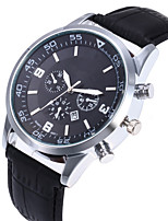cheap -Men Sport Watch Quartz Vintage Style Classic Style Leather Black / Silver / Red 30 m Calendar / date / day Casual Watch Large Dial Analog Classic Vintage - Black / Silver Red Silver One Year Battery