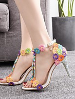 cheap -Women's Sandals Heel Sandals Spring & Summer / Fall & Winter Stiletto Heel Open Toe Classic Sweet Wedding Party & Evening Imitation Pearl / Sparkling Glitter / Buckle Camouflage Lace / PU Rainbow