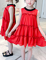 cheap -Kids Girls' Sweet White Red Color Block Patchwork Sleeveless Above Knee Dress Red