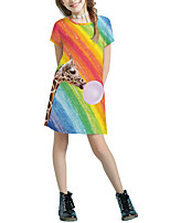 cheap -Kids Girls' Basic Cute Solid Colored Cartoon Patchwork Print Short Sleeve Above Knee Dress Rainbow