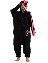 cheap -Adults' Kigurumi Pajamas Cat Onesie Pajamas Flannelette Black Cosplay For Men and Women Animal Sleepwear Cartoon Festival / Holiday Costumes