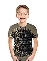 cheap -Kids Boys' Active Street chic Geometric Color Block 3D Short Sleeve Tee Brown