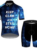 Недорогие -21Grams Муж. С короткими рукавами Велокофты и велошорты Черный / синий Клетки геометрический Новинки Велоспорт Наборы одежды Устойчивость к УФ Дышащий Быстровысыхающий Впитывает пот и влагу