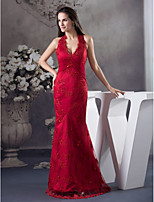 cheap -Mermaid / Trumpet Beautiful Back Sexy Engagement Formal Evening Dress Halter Neck Sleeveless Floor Length Lace Tulle with Beading 2020