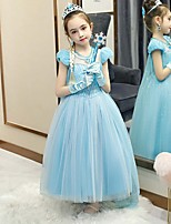 cheap -Princess Elsa Dress Flower Girl Dress Girls' Movie Cosplay A-Line Slip Cosplay Light Blue Dress Halloween Carnival Masquerade Tulle Polyester Sequin