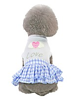 cheap -Dog Dress Dog Clothes Pink Blue Costume Husky Labrador Alaskan Malamute Cotton Heart Quotes & Sayings Love Romantic Sweet XS S M L XL