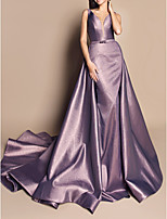 cheap -A-Line Luxurious Purple Engagement Formal Evening Dress V Neck Sleeveless Chapel Train Satin with Sash / Ribbon Overskirt 2020