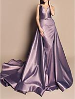 cheap -A-Line Luxurious Purple Engagement Formal Evening Dress V Neck Sleeveless Chapel Train Satin with Sash / Ribbon Overskirt 2020