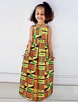 cheap -Toddler Girls' Basic Cute Geometric Color Block Rainbow Print Sleeveless Midi Dress Yellow