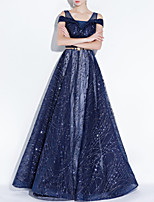 cheap -A-Line Elegant Blue Engagement Formal Evening Dress Spaghetti Strap Short Sleeve Floor Length Polyester with Sash / Ribbon Sequin 2020