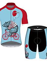 Недорогие -21Grams Муж. С короткими рукавами Велокофты и велошорты Красный + синий Животное Воздушные шары Медведи Велоспорт Наборы одежды Устойчивость к УФ Дышащий Быстровысыхающий Впитывает пот и влагу