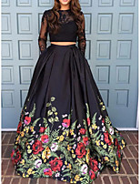 cheap -Two Piece Beautiful Back Floral Engagement Formal Evening Dress Jewel Neck Long Sleeve Sweep / Brush Train Polyester with Pleats Pattern / Print 2020 / Illusion Sleeve