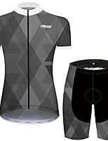 Недорогие -21Grams Жен. С короткими рукавами Велокофты и велошорты Темно-серый Клетки геометрический Велоспорт Наборы одежды Дышащий Быстровысыхающий Ультрафиолетовая устойчивость Впитывает пот и влагу