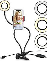 Недорогие -светодиодная подсветка таймера автоспуска Tiktok Light YouTube трансляция в прямом эфире свет с мобильного телефона клип кронштейн ленивый кронштейн рабочего стола клип глаз затемнения USB