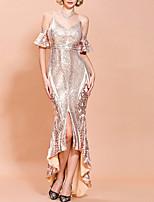 Недорогие -блестка сплит русалка труба блестящие сексуальные с коротким рукавом v шеи асимметричный спандекс свадебный гость вечернее платье