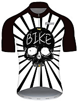 cheap -21Grams Men's Short Sleeve Cycling Jersey Black / White Stripes Patchwork Skull Bike Jersey Top Mountain Bike MTB Road Bike Cycling UV Resistant Breathable Quick Dry Sports Clothing Apparel