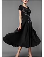 cheap -Ballroom Dance Dress Appliques Women's Performance Cap Sleeve Polyester Taffeta