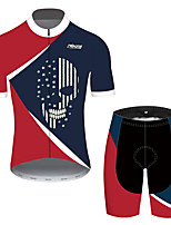 cheap -21Grams Men's Short Sleeve Cycling Jersey with Shorts Red+Blue Skull American / USA National Flag Bike Clothing Suit UV Resistant Breathable Quick Dry Sweat-wicking Sports Skull Mountain Bike MTB