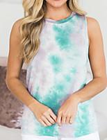cheap -Women's Color Block Print T-shirt - Cotton Daily Blue / Green / Dark Gray / Brown / Light Green