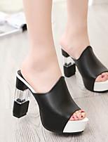 Недорогие -Жен. Обувь на каблуках 2020 Каблук с хрустальной отделкой Открытый мыс Искусственная кожа На каждый день / Минимализм Лето Красный / Белый / Черный