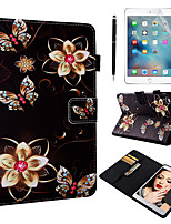 cheap -Case & 1pcs Stylus pen & 1pcs Screen Protect For Apple iPad Mini 12345 with Stand / Flip / Ultra-thin Back Cover Flowers PU Leather