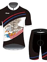 Недорогие -21Grams Муж. С короткими рукавами Велокофты и велошорты Черный / красный Животное Американский / США Eagle Велоспорт Наборы одежды Устойчивость к УФ Дышащий Быстровысыхающий Впитывает пот и влагу