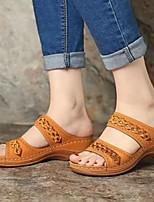 cheap -Women's Sandals Wedge Sandals Flat Sandal Summer Wedge Heel Open Toe Daily PU Black / Yellow / Red