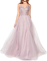 cheap -A-Line Minimalist Pink Engagement Prom Dress Spaghetti Strap Sleeveless Floor Length Tulle with Tier 2020