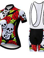 Недорогие -21Grams Жен. С короткими рукавами Велокофты и велошорты-комбинезоны Красный / Белый Черепа Цветочные ботанический Велоспорт Наборы одежды Дышащий 3D / Слабоэластичная / Быстровысыхающий / 3D-панель