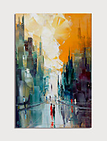 cheap -Hand Painted Canvas Oilpainting Abstract Street Home Decoration with Frame Painting Ready to Hang