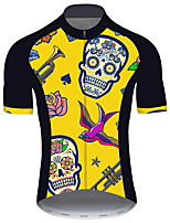 cheap -21Grams Men's Short Sleeve Cycling Jersey Black / Yellow Skull Floral Botanical Bird Bike Jersey Top Mountain Bike MTB Road Bike Cycling UV Resistant Breathable Quick Dry Sports Clothing Apparel