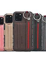 Недорогие -Кейс для Назначение Apple iPhone 11 / iPhone 11 Pro / iPhone 11 Pro Max Бумажник для карт / Защита от удара / Кольца-держатели Кейс на заднюю панель Плитка ТПУ / холст