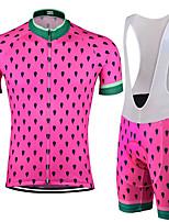 Недорогие -21Grams Муж. С короткими рукавами Велокофты и велошорты-комбинезоны Розовый + зеленый Горошек Велоспорт Наборы одежды Устойчивость к УФ Дышащий 3D-панель Быстровысыхающий Впитывает пот и влагу