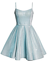 cheap -A-Line Sparkle Homecoming Cocktail Party Dress Spaghetti Strap Sleeveless Short / Mini Polyester with Pleats 2020