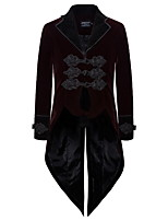 cheap -Plague Doctor Retro Vintage Gothic Steampunk Coat Masquerade Men's Costume Burgundy Vintage Cosplay Event / Party Long Sleeve