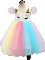 cheap -Unicorn Dress Flower Girl Dress Girls' Movie Cosplay A-Line Slip Cosplay Fuchsia Dress Halloween Carnival Masquerade Tulle Polyester