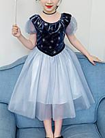 Недорогие -Дети Девочки Симпатичные Стиль Уличный стиль Пэчворк Сетка Пэчворк С короткими рукавами Платье Синий