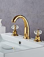 Недорогие -Смеситель для раковины ванной комнаты - широко распространенный гальванический современный золотой кран ручка с тремя отверстиями для ванны